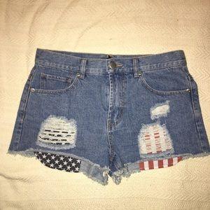 Forever21 American Flag Pocket Denim Shorts